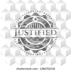 Justified grey badge with geometric cube white background
