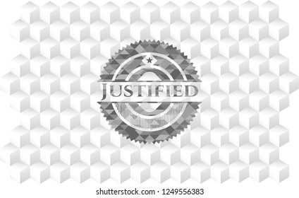 Justified grey emblem. Vintage with geometric cube white background