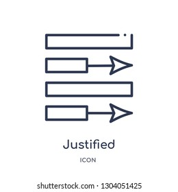 justified icon from user interface outline collection. Thin line justified icon isolated on white background.