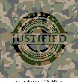 Justified on camouflaged texture. Vector Illustration. Detailed.