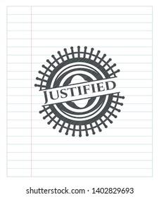 Justified pencil strokes emblem. Vector Illustration. Detailed.