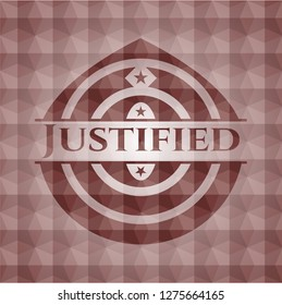 Justified red badge with geometric background. Seamless.