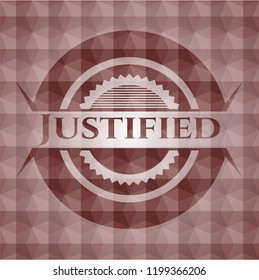 Justified red seamless badge with geometric pattern.