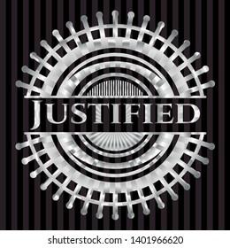 Justified silver shiny emblem]. Vector Illustration. Mosaic.