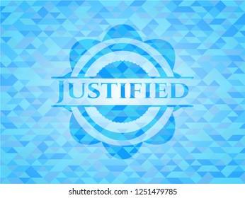 Justified sky blue mosaic emblem