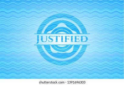 Justified water wavec oncept emblem. Vector Illustration. Detailed.