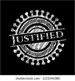 Justified written with chalkboard texture