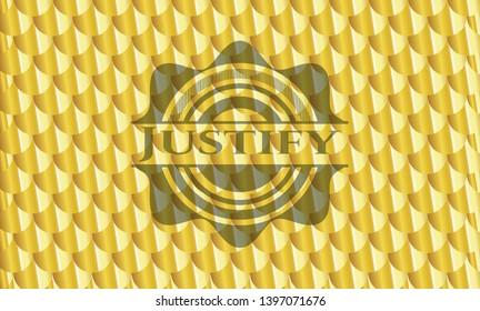 Justify gold emblem. Scales pattern. Vector Illustration. Detailed.