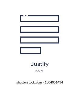 justify icon from user interface outline collection. Thin line justify icon isolated on white background.