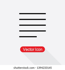 Justify Left Alignment Paragraph Icon Vector Illustration Eps10