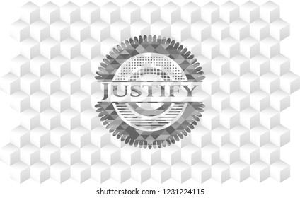 Justify retro style grey emblem with geometric cube white background