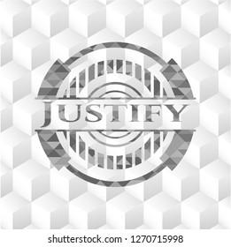 Justify retro style grey emblem with geometric cube white background