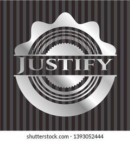 Justify silver emblem. Vector Illustration. Mosaic.