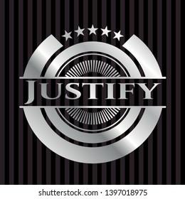 Justify silvery badge. Vector Illustration. Mosaic.