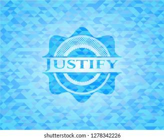 Justify sky blue emblem. Mosaic background