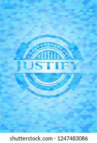 Justify sky blue mosaic emblem