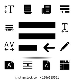 justify, text icon. Simple glyph, flat vector of Text editor set icons for UI and UX, website or mobile application