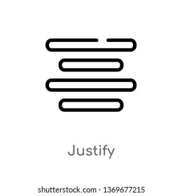 justify vector line icon. Simple element illustration. justify outline icon from user interface concept. Can be used for web and mobile