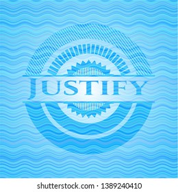 Justify water wave style badge. Vector Illustration. Detailed.