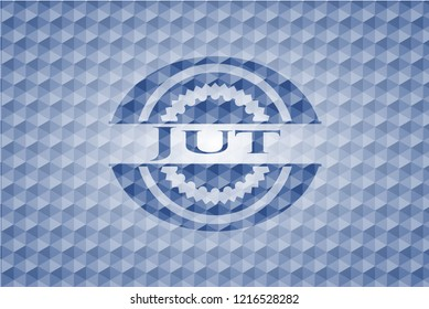 Jut blue emblem or badge with geometric pattern background.