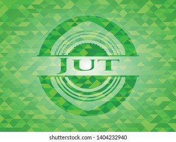 Jut green emblem with triangle mosaic background. Vector Illustration. Detailed.