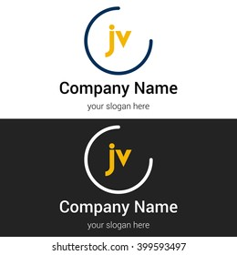 JV business logo icon design template elements. Vector color sign.