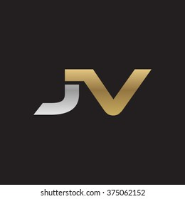 JV company linked letter logo golden silver black background