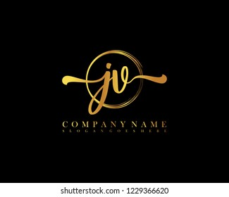 JV initial handwriting logo circle template vector