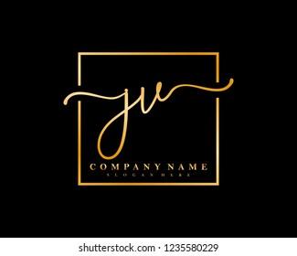 JV Initial handwriting square minimalist logo vector