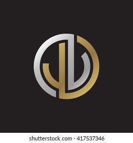 JV initial letters looping linked circle elegant logo golden silver black background