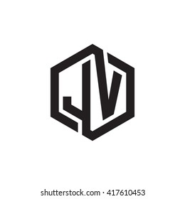 JV initial letters looping linked hexagon monogram logo