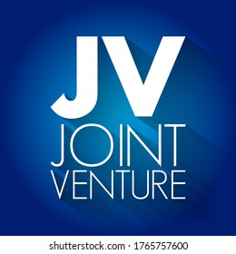 JV - Joint Venture acronym, business concept background