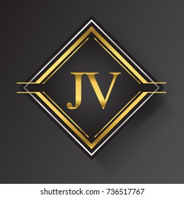 JV Letter logo in a square shape gold and silver colored geometric ornaments.