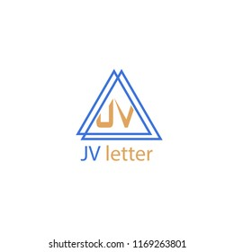 JV letter in the middle of two triangle. simple vector logo.