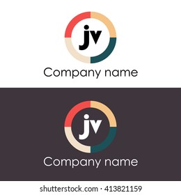 JV letters business logo icon design template. Vector with four colors circle