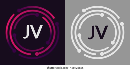 JV letters business logo icon design template elements in abstract background logo, design identity in circle, alphabet letter