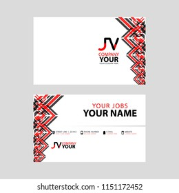 The JV logo on the red black business card with a modern design is horizontal and clean. and transparent decoration on the edges.