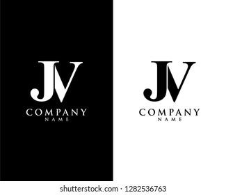 jv/vj initial company name logo template vector