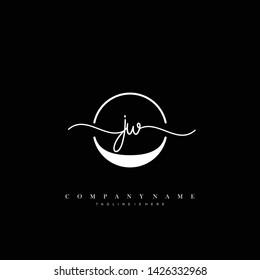 JW initial handwriting logo template vector