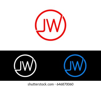 Jw Logo. Letter Design Vector with Red and Black Gold Silver Colors