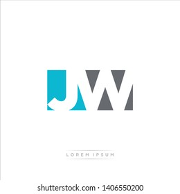 JW Logo Letter with Modern Negative space - Light Blue and Grey Color EPS 10