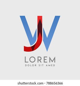 "JW logo letters with ""blue and red"" gradation"