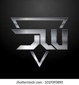 JW Logo, Metal Logo, Silver Logo, Monogram, Polygon