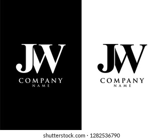 jw/wj initial company name logo template vector