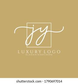 JY Initial handwriting logo template vector