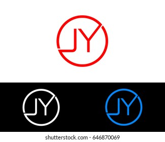 Jy Logo. Letter Design Vector with Red and Black Gold Silver Colors
