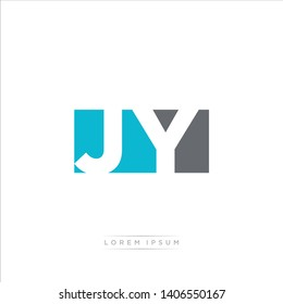 JY Logo Letter with Modern Negative space - Light Blue and Grey Color EPS 10