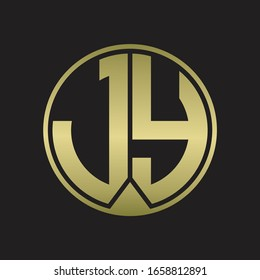 JY Logo monogram circle with piece ribbon style on gold colors