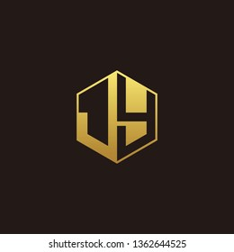 JY Logo Monogram with Negative space gold colors