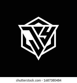JY logo monogram with triangle and hexagon shape combination isolated on back and white colors